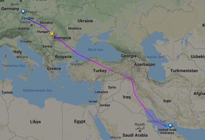Trasa letu Praha–Dubaj