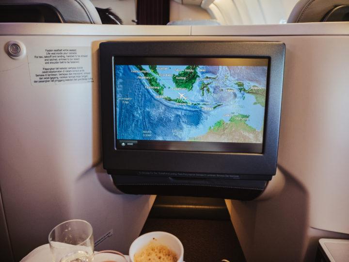 Mapa letu na Bali v byznys třídě Malaysia Airlines
