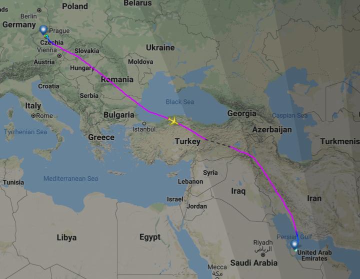 Trasa letu z Prahy do Dauhá v Kataru