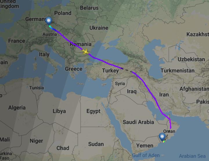 Trasa letu QS4210 z Prahy do ománského Salalahu